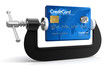 Credit Card in clamp (clipping path included)