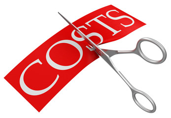 Scissors and costs (clipping path included)