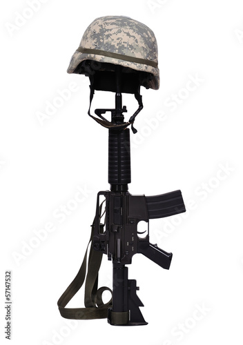 rifle with helmet