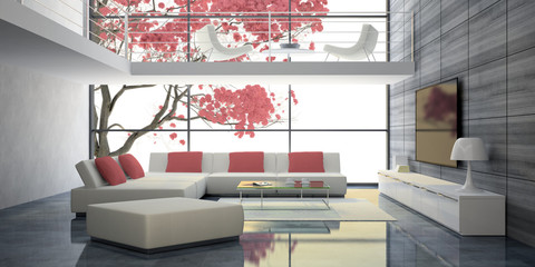 Modern interior with white sofas and pink pillows