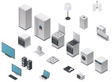 Vector isometric appliances set