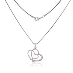 Silver chain and pendant in the shape of heart