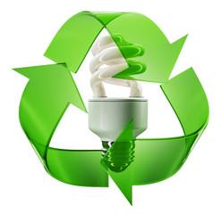 Eco sign with energy saving lightbulb