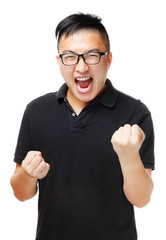 Asian man feeling excited