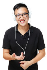 Asian man enjoy listen to music