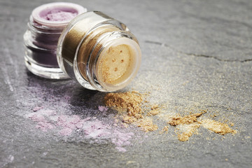 Purple and gold powder eye shadow with glitter