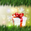 Christmas background with gift box and christmas tree