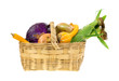 Garden vegetables in a wicker basket