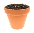 Organic potting soil in a clay pot