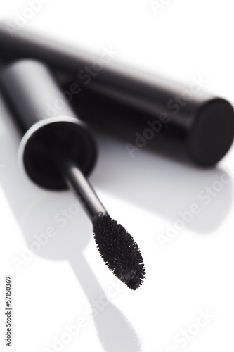 Mascara in a black tube, isolated on a white background