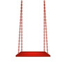 Wooden swing hanging on red chains