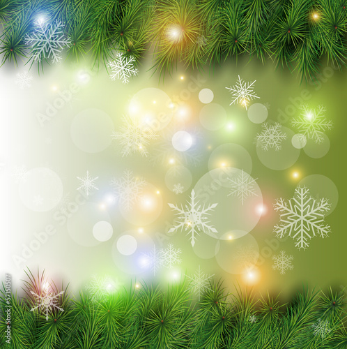 Christmas background with tree, snow and lights.