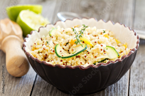 Warm quinoa salad with vegetables