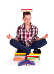Meditating teenager