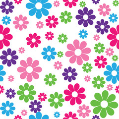 vector seamless pattern of colorful flowers