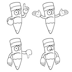 Black and white sad cartoon pencils with various gestures.