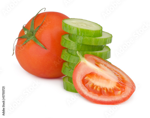 Tomato and cucumber isolated on white