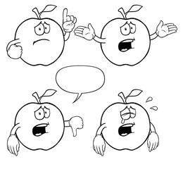 Black and white crying apples with various gestures.