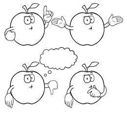 Black and white thinking apples with various gestures.