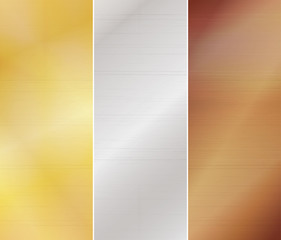 Set of three metal backgrounds - gold, silver, bronze