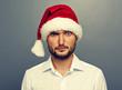 amazed man in santa hat