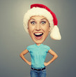 funny xmas girl in red hat