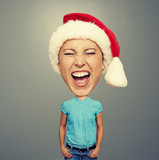 excited santa girl with big head