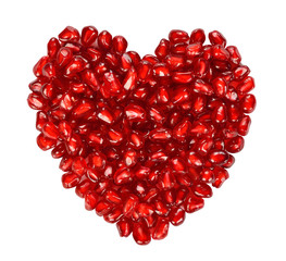 Heart from pomegranate seeds