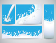 Milk splashes background vector set
