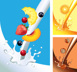 Milk and juice splashes with fruits in vector