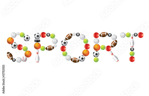 Sport word from balls vector