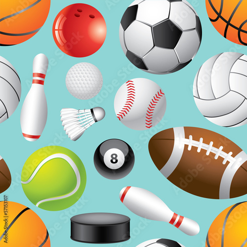 Sport balls seamless background in vector