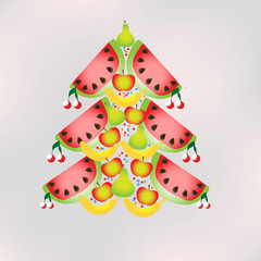 juicy vector fruit in the form of Christmas tree