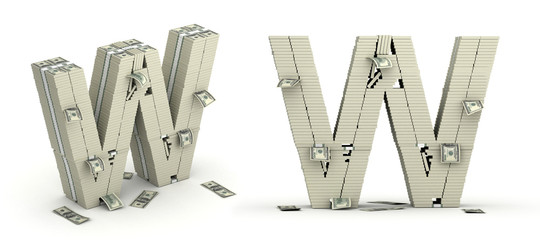 Letter W, alphabet from dollars paks