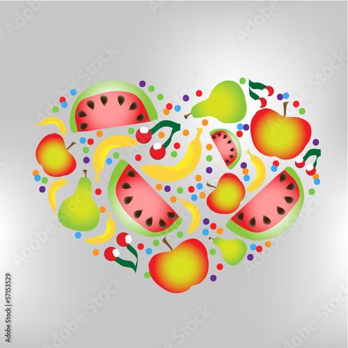 heart of vector fruit
