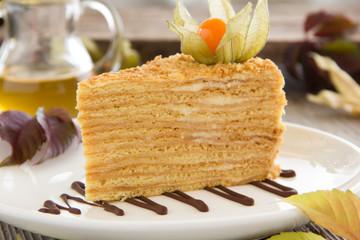A piece of honey cake. Selective focus.