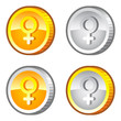 Coins with female sign