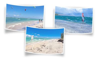 kite-surf sur lagon de l'Ermitage, île de la Réunion