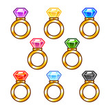 Gold rings with colorful diamonds