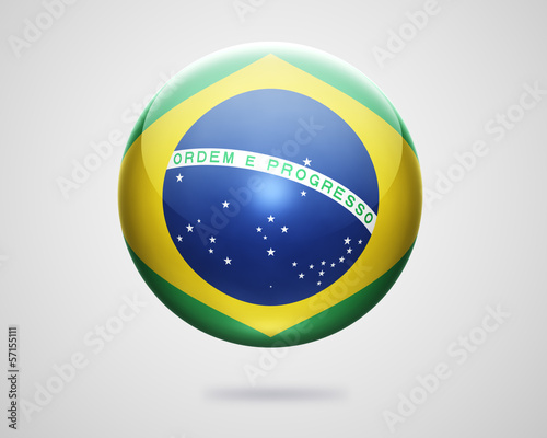Brazilian Flag on Glossy Globe