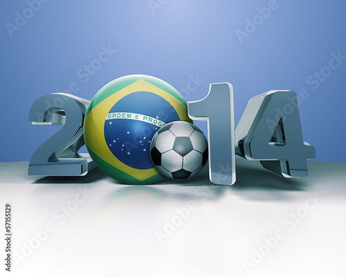 2014 in Bold 3D Text with Brazilian Globe and Football