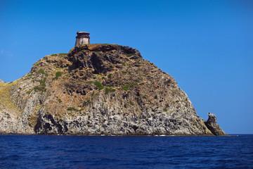 Tower on Capraia island Elba, Tuscany, Italy, Europe