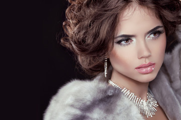 Glamour. Fashion girl Model wearing in Luxury Mink Fur Coat isol