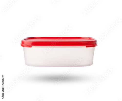 white plastic box with red cab isolated on white background
