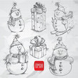 Sketching style  snowmen gift boxes doodles