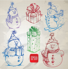 snowmen and christmas gift boxes doodles
