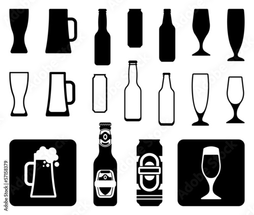 Beer icons: bottles, glasses, mugs