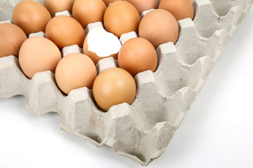Several eggs and eggshell in carton basket