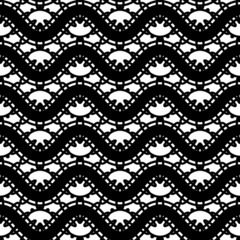 Black and white lace, seamless pattern