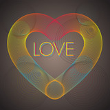 Rainbow heart with love - vector background